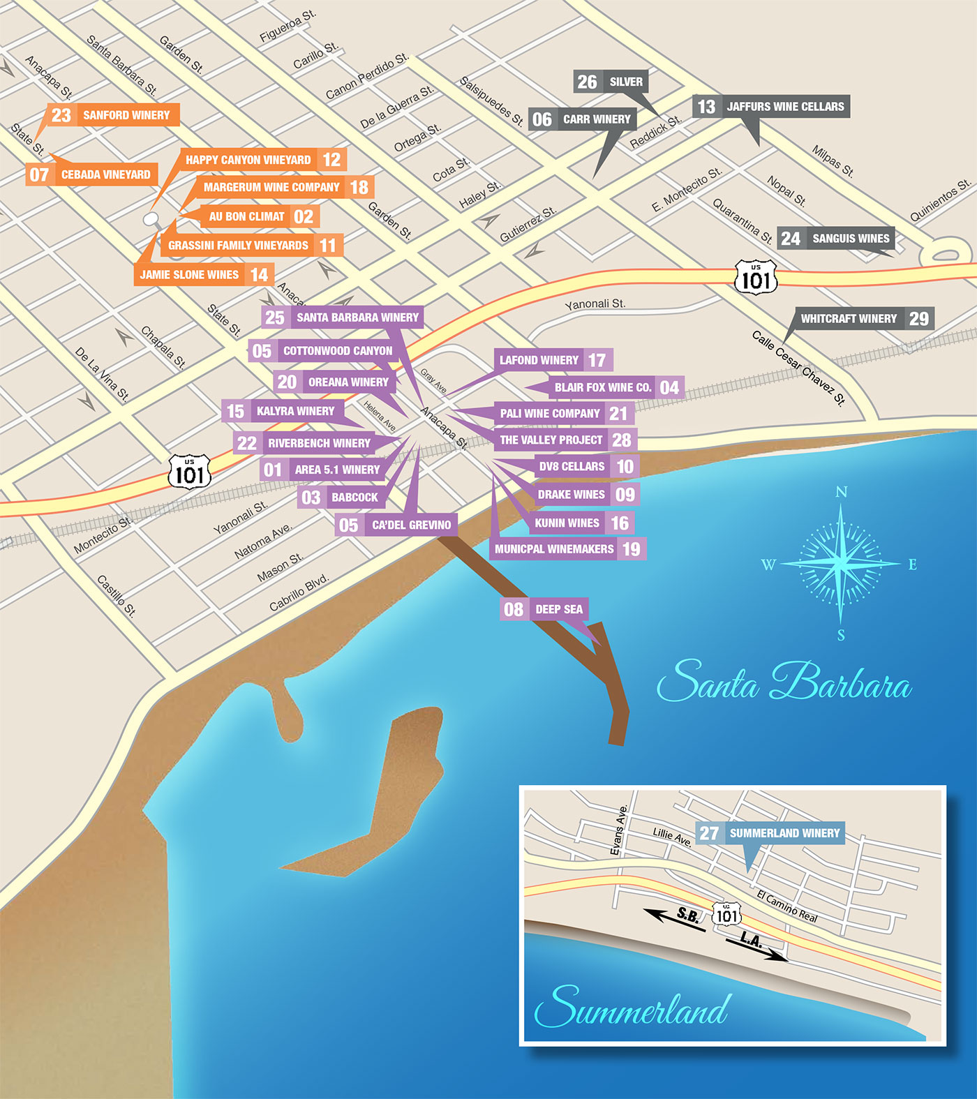 A map of downtown Santa Barbara wineries